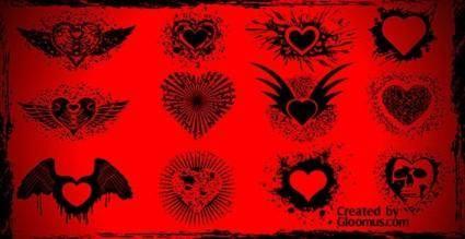 free vector Grunge vector hearts