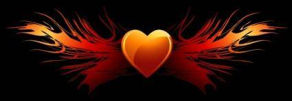 free vector Flaming Heart Wings