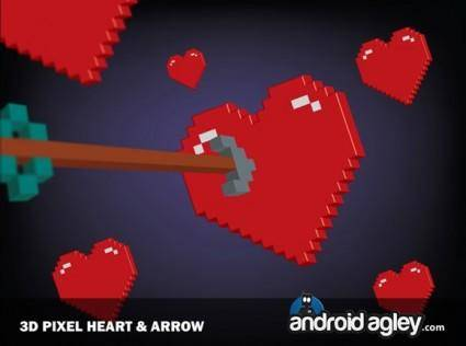 3D Pixel Heart and Arrow
