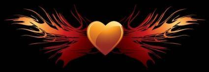 free vector EPS vector flaming heart wings
