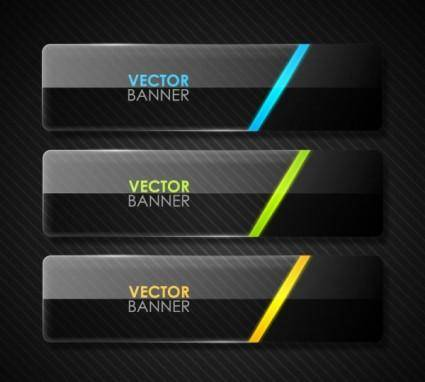 free vector The black cool banner04vector