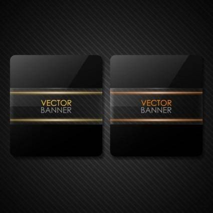 free vector The black cool banner02vector