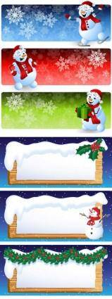 Cartoon snowman banner vector