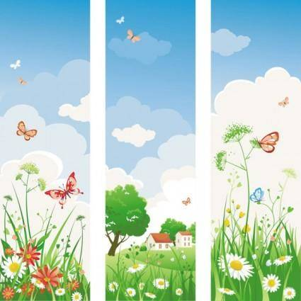 Spring of banner04 vector