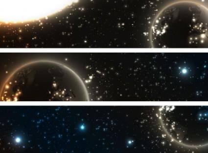 free vector Bright stars banner1 vector