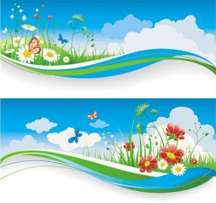 Spring of banner01 vector