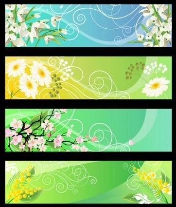 free vector Beautiful flower banner 01 vector