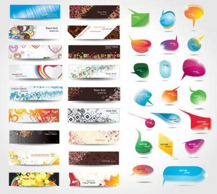 free vector Dynamic colorful banner and dialog boxes vector