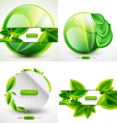 free vector The green leafy tags vector