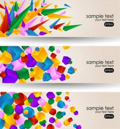 free vector Brilliant color banners 03 vector