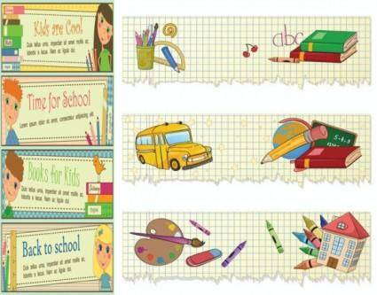 Illustration style of education theme banner design template vector 1