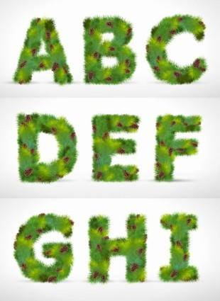 free vector Pine form letters 01 vector