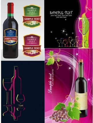 free vector Wine bottles u0026amp paste banner vector background