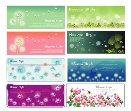 free vector Flowering plants banner vector
