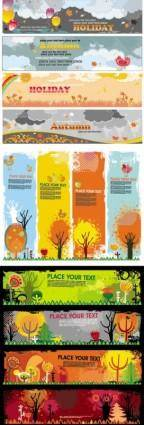 free vector Beautiful autumn banners vector