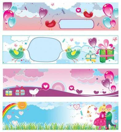 Banner vector cute valentine day