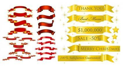5 sets of festive ribbon banner vector