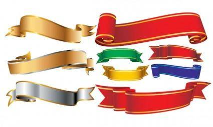 Several ribbons ribbons banner vector