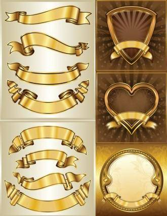 Gold banner banner vector