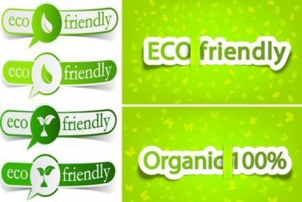 Lowcarbon green theme label banner design vector 2
