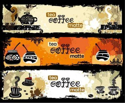 Tea and coffee theme banner vector
