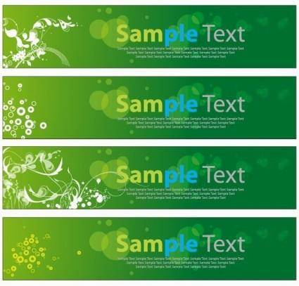 free vector Green Floral Banners