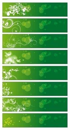 free vector Green Floral Banners Vector