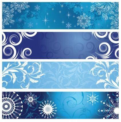 free vector Vector Christmas Banners with Snowflakes