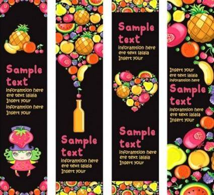 free vector Vector Background of Colorful Fruits and Banner Material