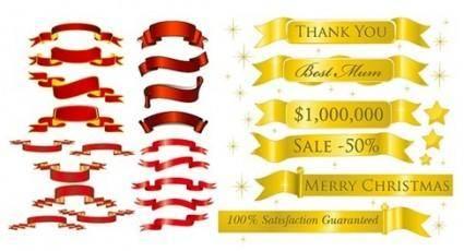 free vector 5 sets of festive ribbon banner vector material