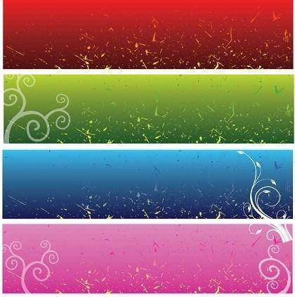 free vector 4 Free Vector Floral Background Banners