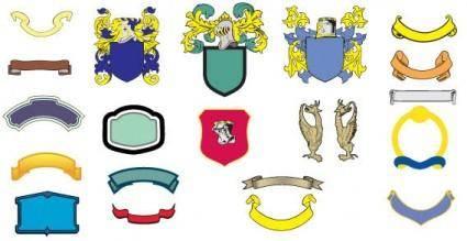 Heraldic shield, banners