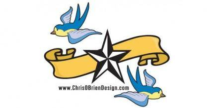 Banner, bird and star free vector