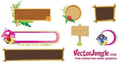 Wood banners and frames free vector