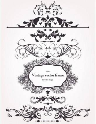 Europeanstyle floral border and decorations 02 vector