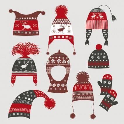 free vector Winter hats gloves 02 vector
