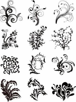free vector Floral Curves Vector Set