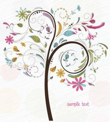 free vector Abstract Swirl Floral Tree Vector Graphic