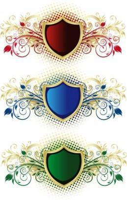 free vector Vector Floral Shield