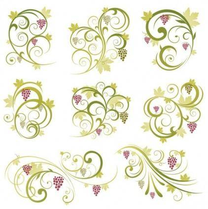 free vector Abstract Floral Vine Grape Ornament Vector