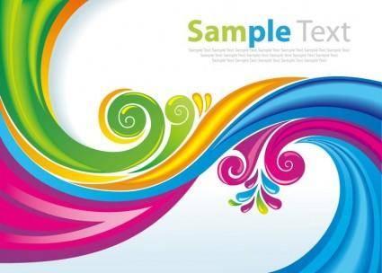 Rainbow Floral Swirls Vector Art