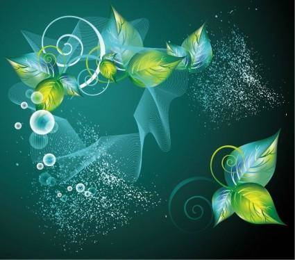 free vector Abstract Green Swirl Floral Vector Background