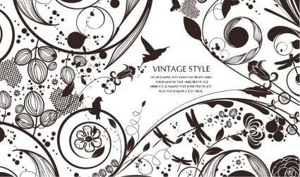 free vector Vintage Style Floral Vector Background