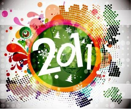 free vector 2011 New Year Floral Backgound Vector Graphic