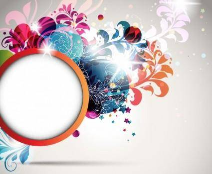 free vector Round Frame Decorated with Floral Elements Vector Illustration