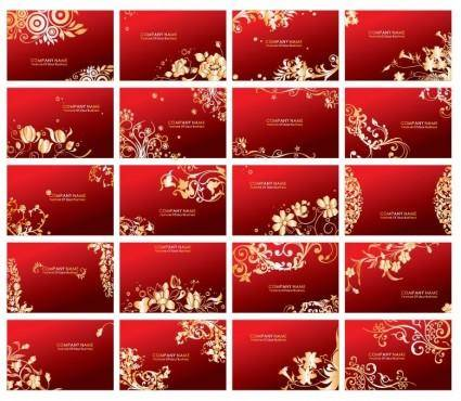 Golden Floral Business Cards Vector Set