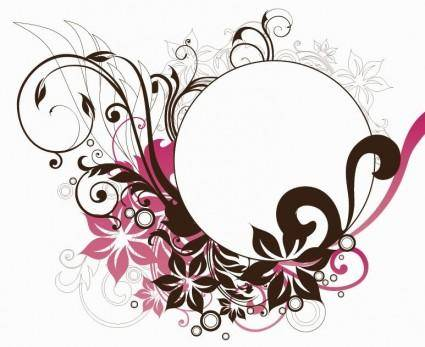 Circle Frame with Floral Decorations Vector Graphic