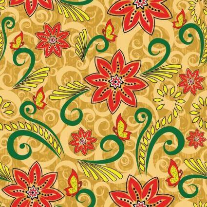 free vector Vector Retro Floral Seamless Pattern