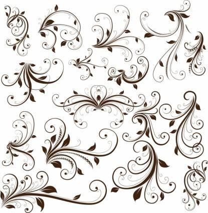 free vector Swirl Floral Decorative Element Vector Graphic