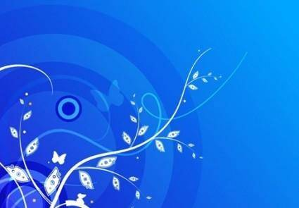 Floral with Blue Background Vector Graphic